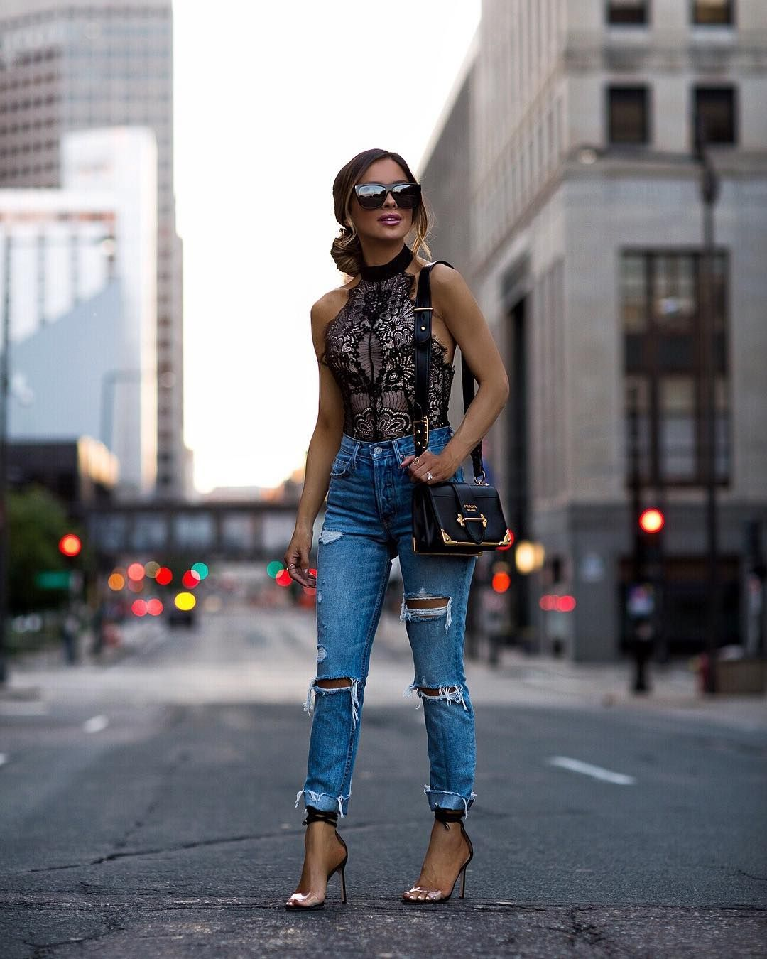 Lace bodysuit with high waisted jeans  Delicate details   Sharing some of my favorite designer pieces