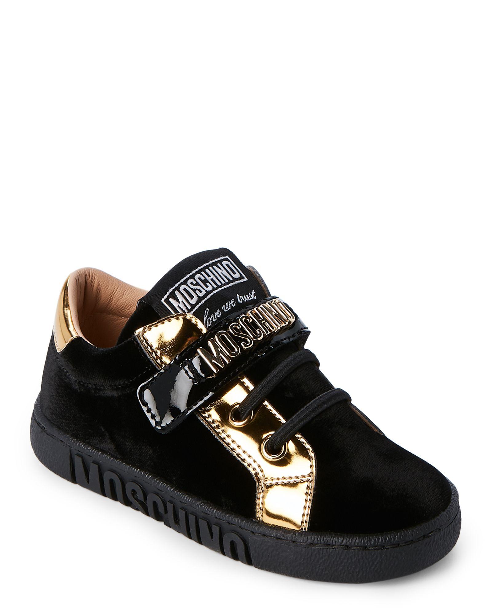 0dc2cc86cfc9 Moschino (Toddler Boys) Black Velvet Logo Sneakers