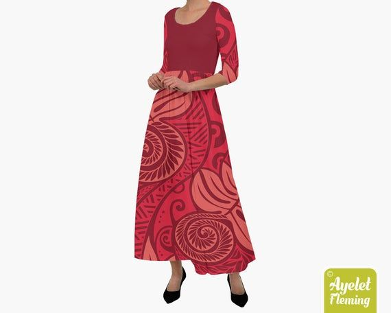 Polynesian dress Shades of dark red burgundy ulu tiki dress Size XXS-4XL Hawaiian dress women