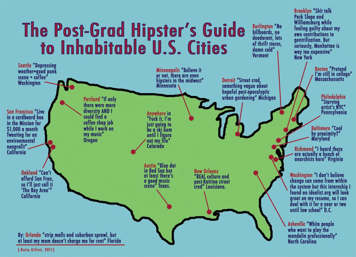 A Witty Map Of Hipster Urban Habitats