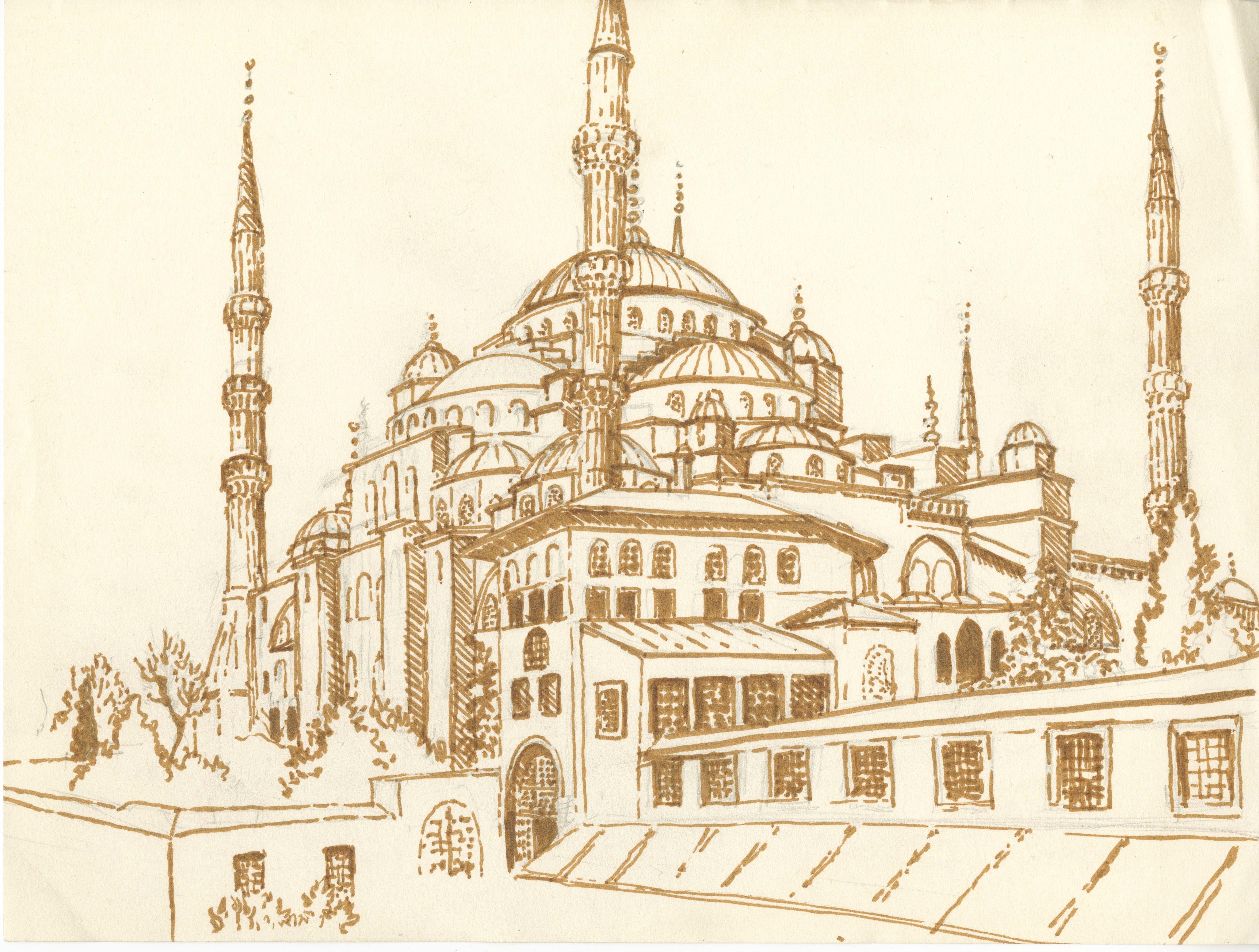 Blue Mosque Drawing Islami Sanat Sanat Cizimler