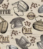 Novelty Quilt Fabric-Antique Cafe