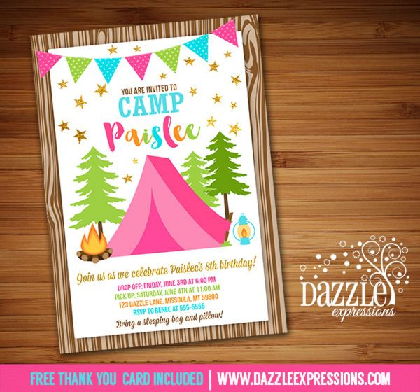 Printable Glamping Birthday Invitation | Girl Camping ...