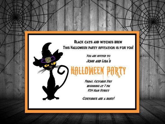 INSTANT DOWNLOAD Black Cat Halloween Party Invite Microsoft Word