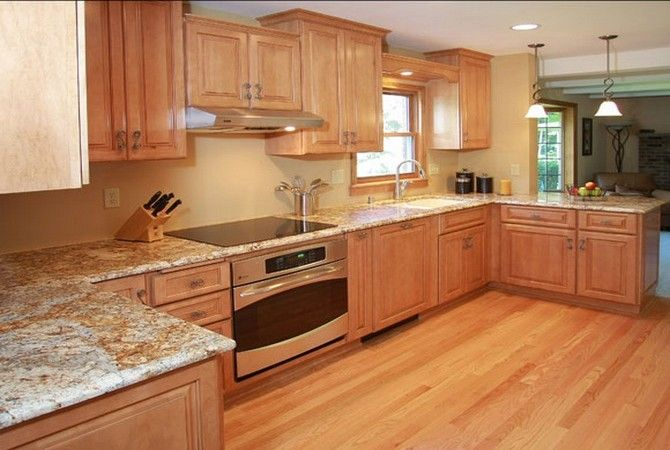 Inimitable Honey Oak Kitchen Pantry with Granite Kitchen ... on What Color Granite Goes With Honey Maple Cabinets  id=77081