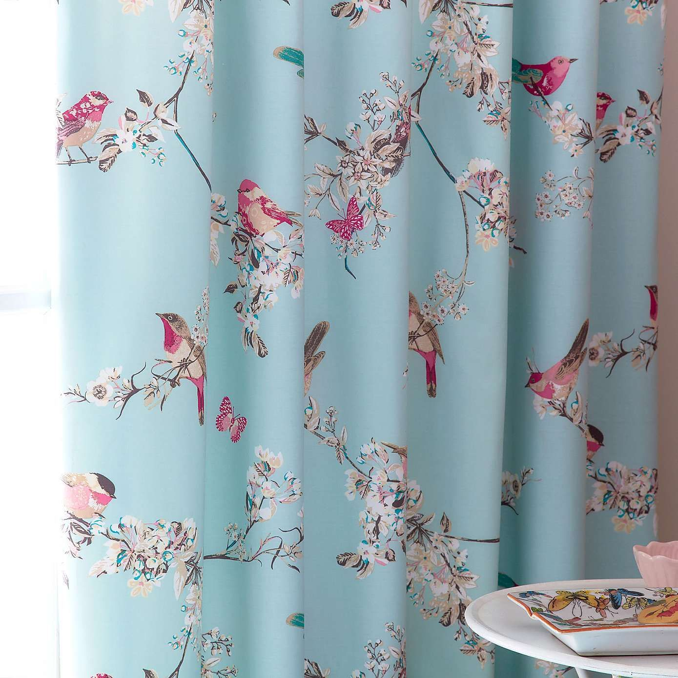 Beautiful Birds Duck Egg Thermal Pencil Pleat Curtains