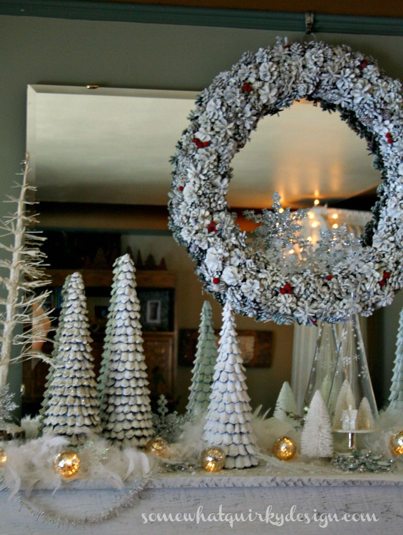 Somewhat Quirky: White Winter Mantel