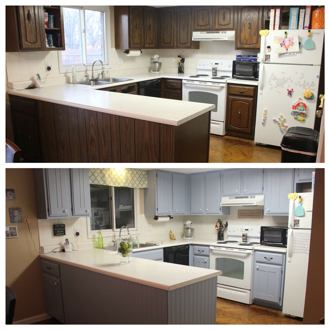 Adding trim to existing cabinets and a fresh coat of blue ...
