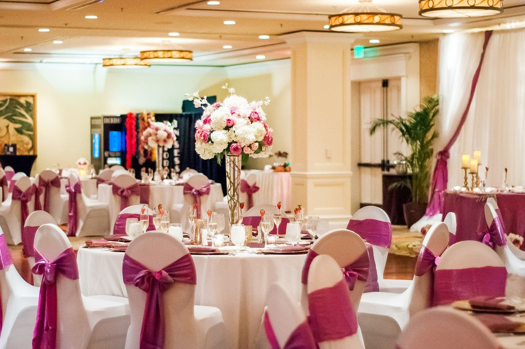 Beach Resort Wedding White Chair Covers With Pink Sashes Tied