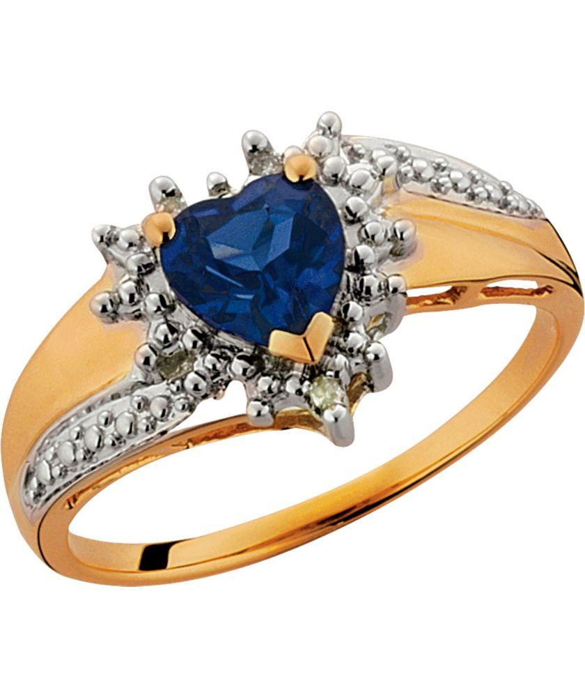 Buy 9ct Gold Created Sapphire and Diamond Heart Ring at ...