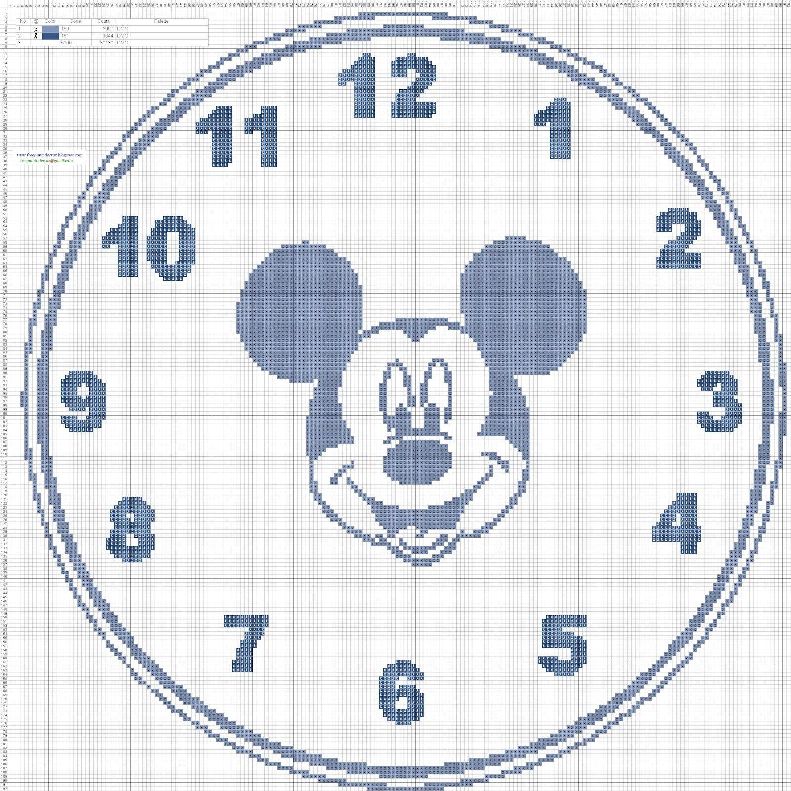 Dibujos Punto de Cruz Gratis: Reloj Mickey Mouse clock - Cross ...