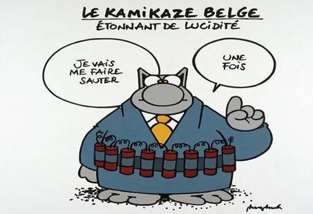 Attentat De Bruxelles Tintin Gaston Spirou Et Le Chat En Deuil Le Chat Geluck Chat Humour Et Carte Anniversaire Humour