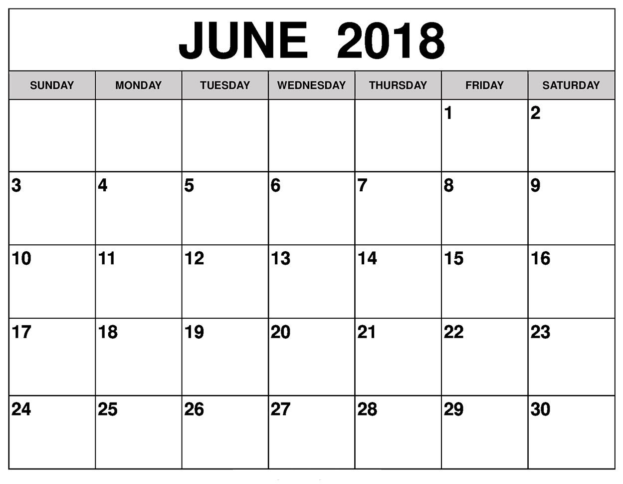 June 2018 Calendar June 2018 Calendar June Calendar Printable