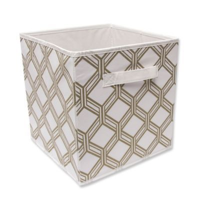 Relaxed Living 11 Fabric Storage Bin In White Gold Miguel Fabric Storage Bins Fabric Storage Storage Bins