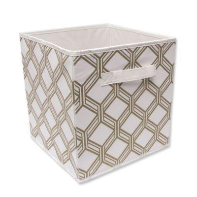 Relaxed Living 11 Fabric Storage Bin In White Gold Miguel Fabric Storage Bins Fabric Storage Storage Bins