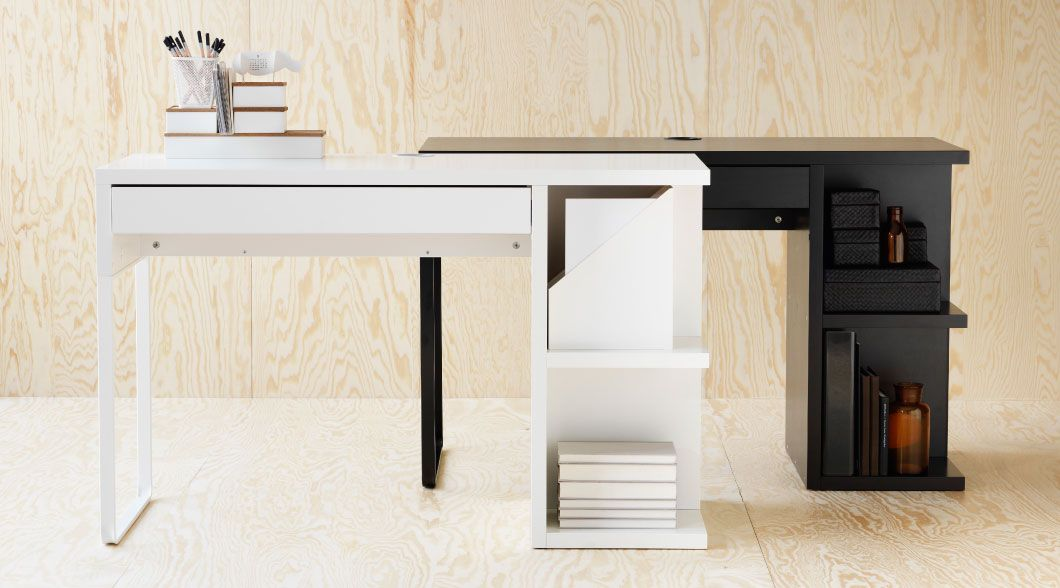 The Micke Desk Comes With Built In Shelves That Are Big Enough For A Storage Box Or Magazine Files So You Can Keep Micke Desk Desk Layout Guest Bedroom Office