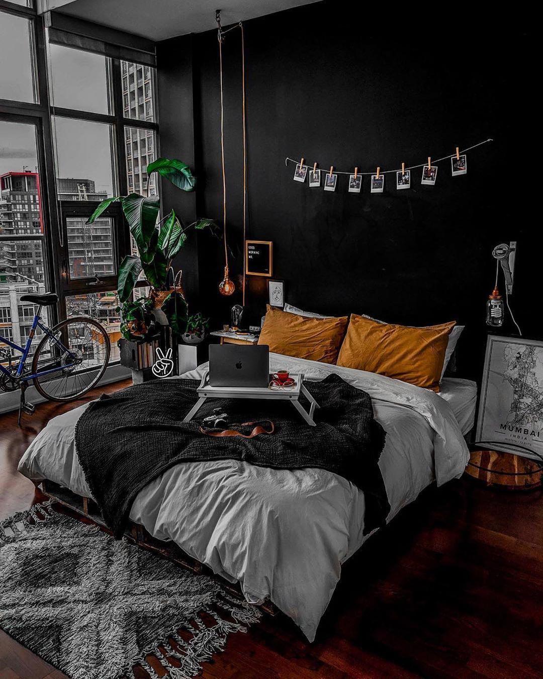 home decor bedroom black yellow   Bedroom decor, Home decor ...