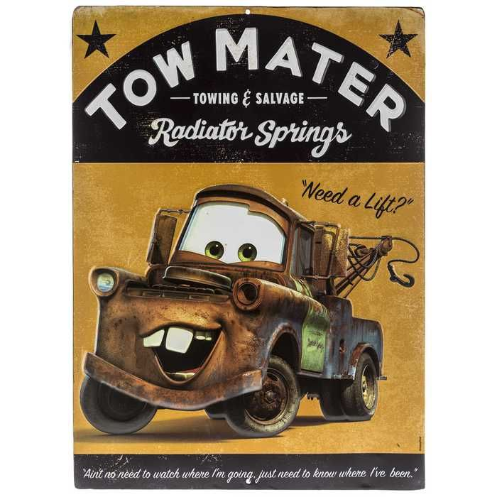Tow Mater Poster Embossed Tin Sign⎜open Road Brands Cars