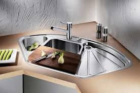Stylish Stainless Double Corner Sink With Drainer Chopping Board Lavelli Cucine Arredamento