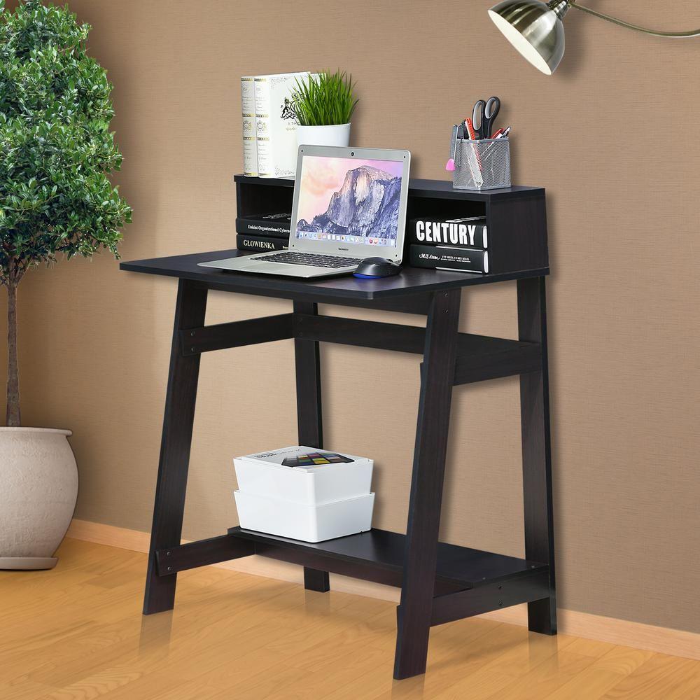 Furinno simplistic dark walnut computer desk with a frame