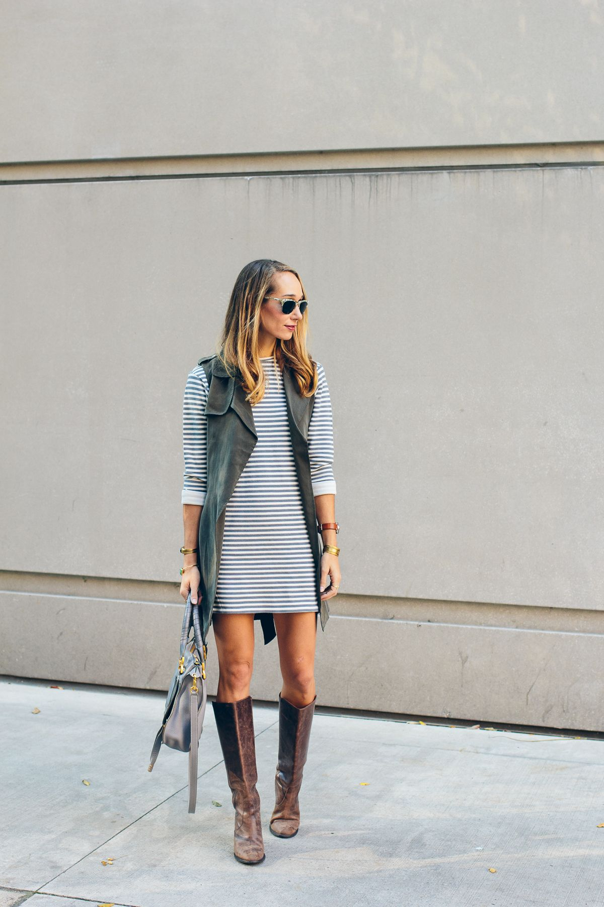 db391a688 striped dress, trench vest, leather boots, chloe bag — via @TheFoxandShe