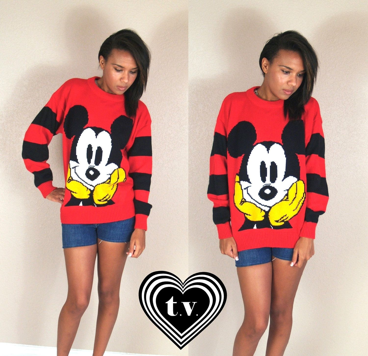 vtg 80s red MICKEY MOUSE oversized retro SWEATER novelty print os striped preppy