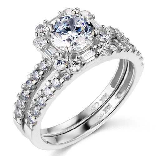 14K+White+Gold+Baguette+Halo+Round-Cut+CZ+Wedding+Ring+Set