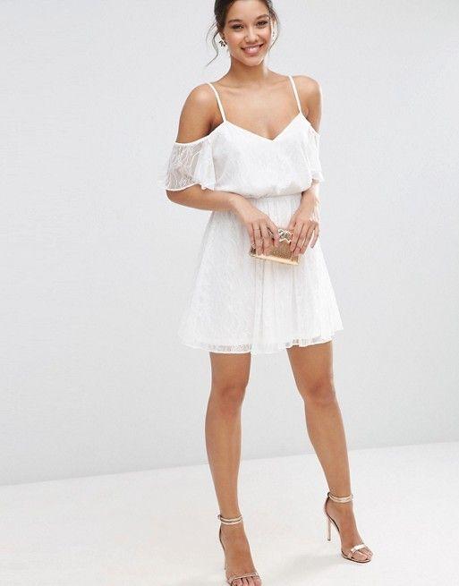e991da650a Lace Cold Shoulder Flutter Sleeve Mini Skater Dress