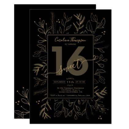 Festive elegant gold floral branch black Sweet 16 Invitation | Zazzle.com #sweet16birthdayparty