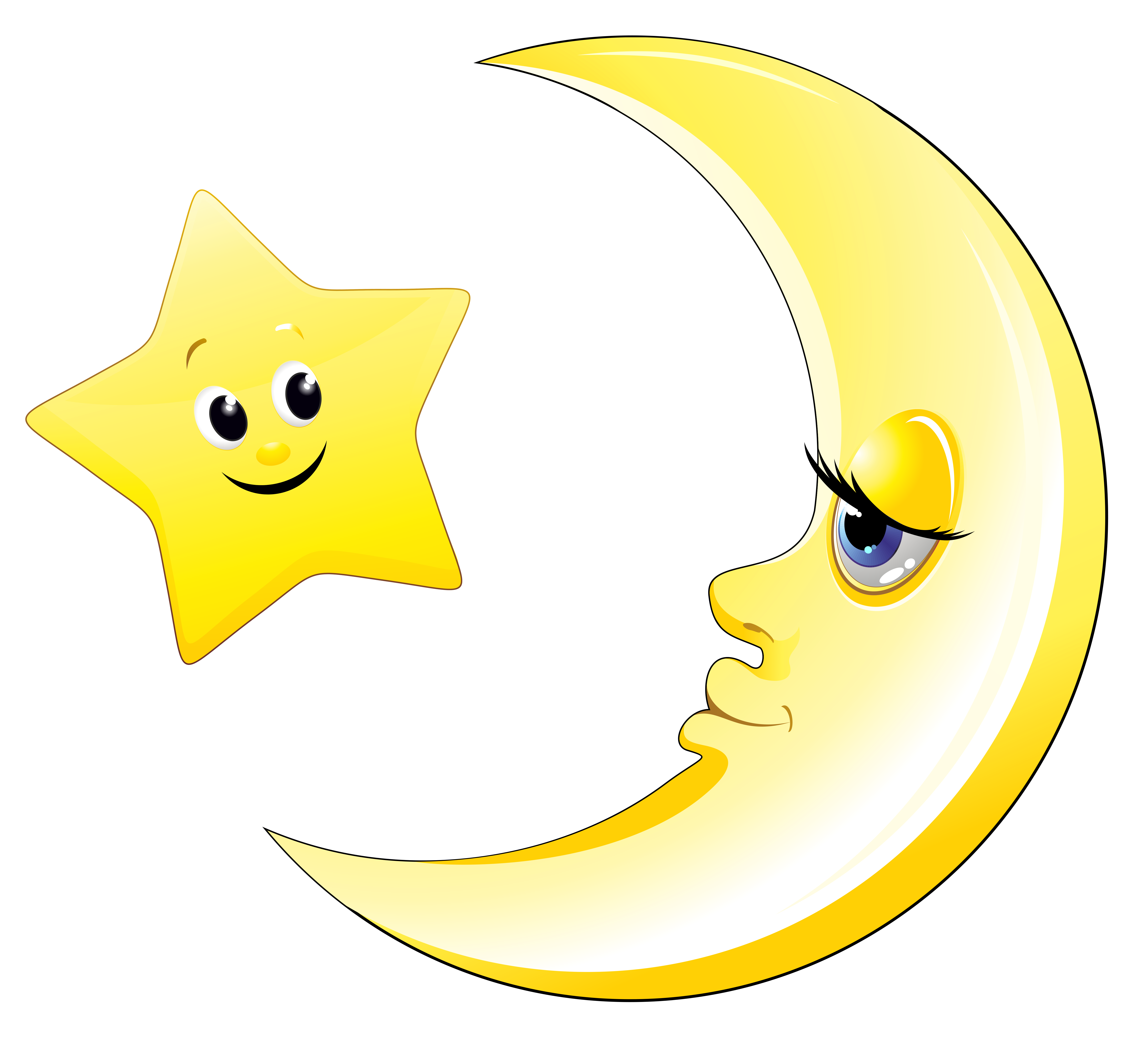 Transparent Cute Moon and Star Clipart Picture