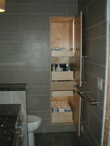 Recessed Deep Storage Cabinets In The #bathroom With Drawers And LED Lights