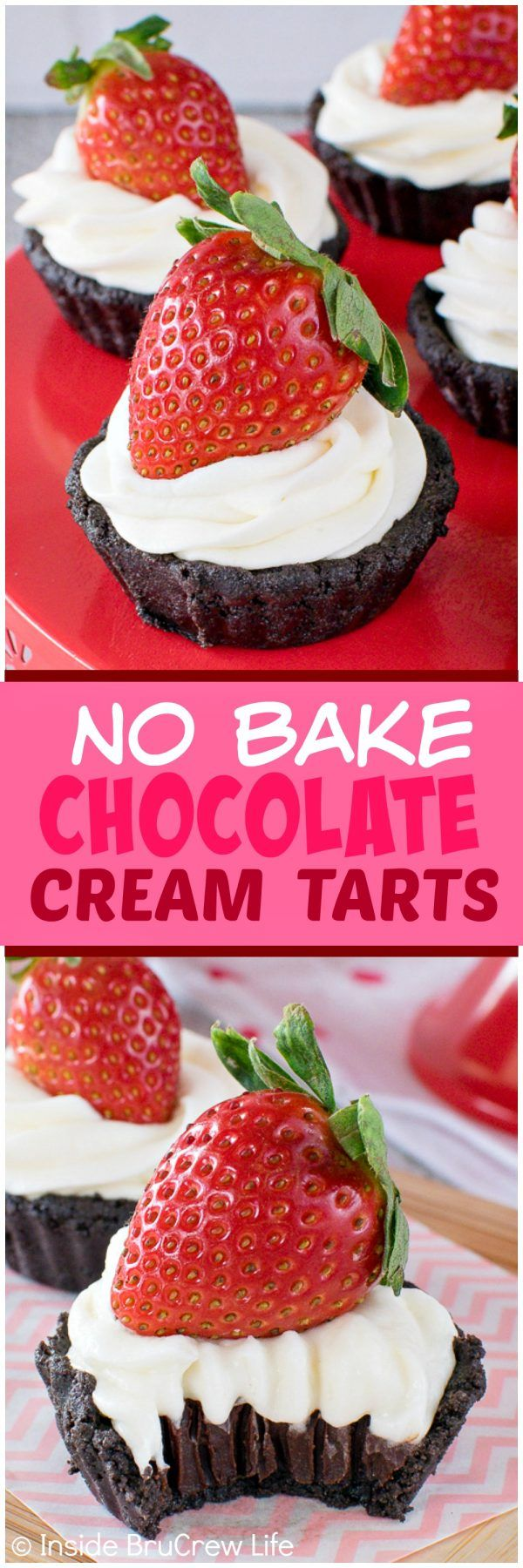 No Bake Chocolate Cream Tarts - easy no bake cookie crust filled with chocolate and a creamy topping! Great dessert recipe for Valentine's day!