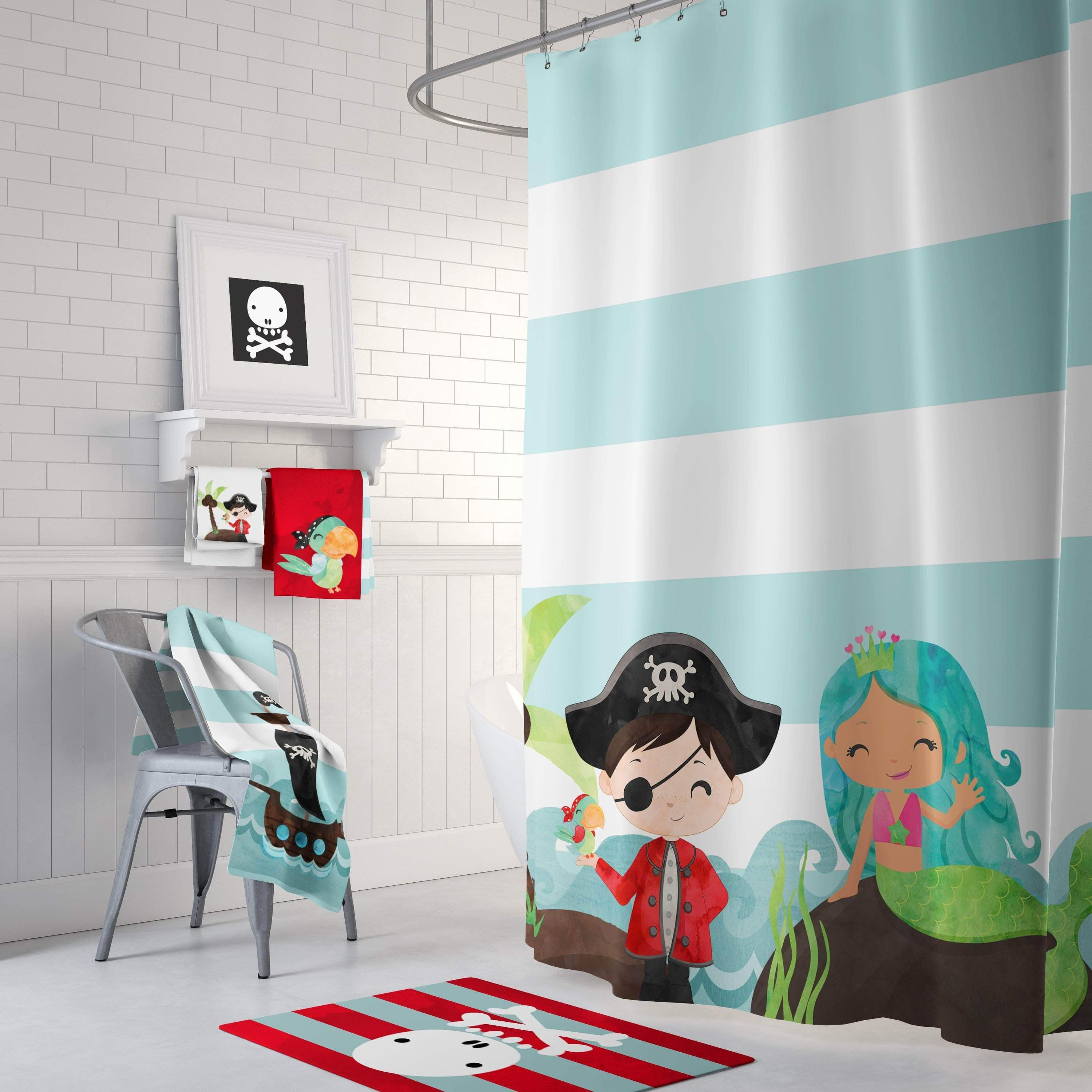 Pirate And Mermaid Bathroom Collection In 2020 Kids Shower