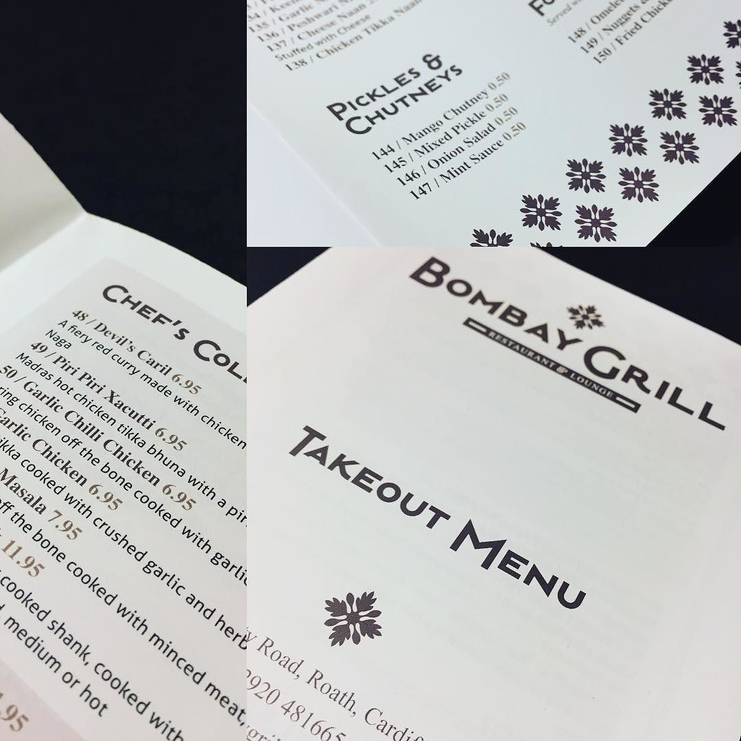 a simple but stylish a3 cross fold takeout menu designed for an
