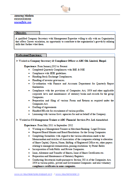 Best Company Secretary Resume Page   Career