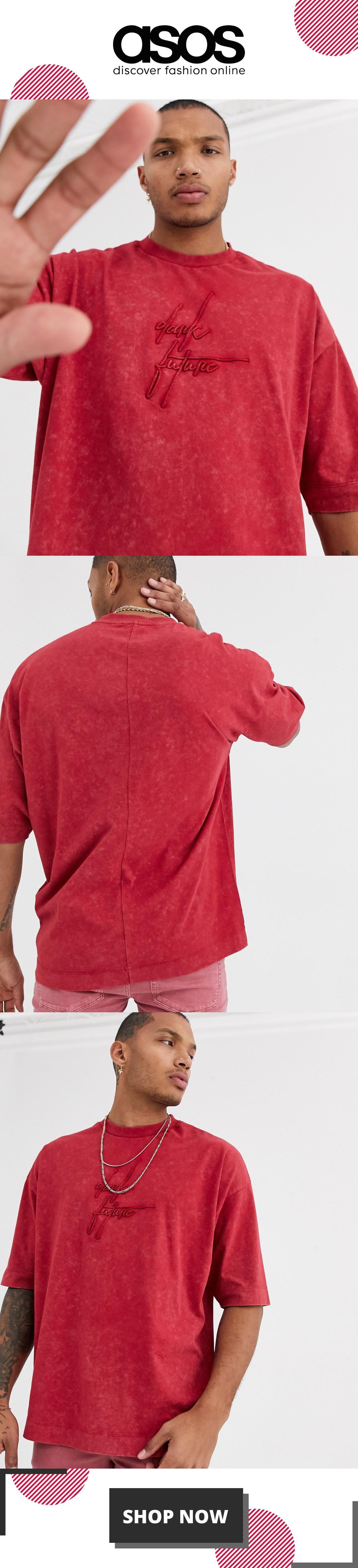 ASOS DESIGN x Dark Future oversized heavyweight t-shirt with nibbled neck and dark future logo in wa