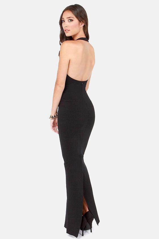 Bundle Of Curves Black Bodycon Maxi Dress Vintage Dresses