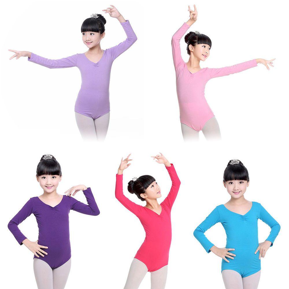 aa71155e9 Girls Kids Long Sleeve Leotard Ballet Dance Dress Gymnastics ...