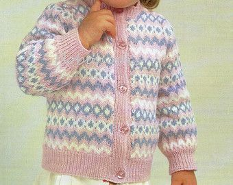 Baby Knitting Pattern baby cardigan fair isle cardigan button ...