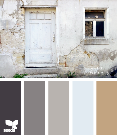worn tones - to go w/ the frame collage in the entry way.  Spray paints?