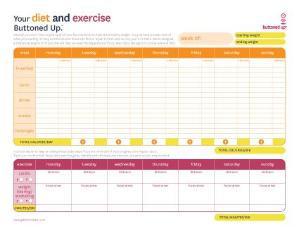 Free Printable Diet & Exercise Worksheet (But If You Have A