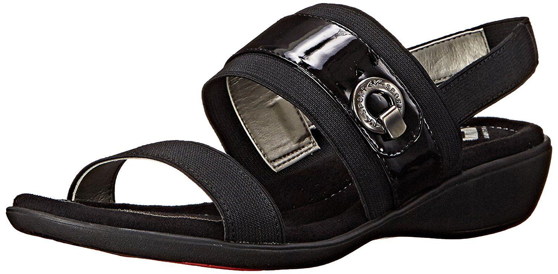 Womens Sandals Anne Klein Hida Black/Black Fabric
