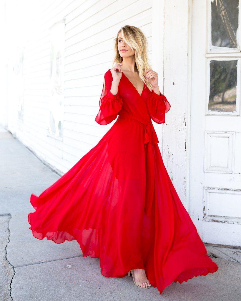 Red siren long sleeve maxi dress glam pinterest long sleeve