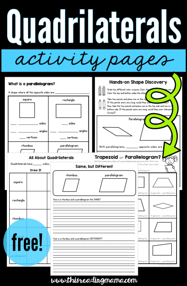 Quadrilateral Activity Pages Free This Reading Mama Quadrilaterals Activities 3rd Grade Math Homeschool Math