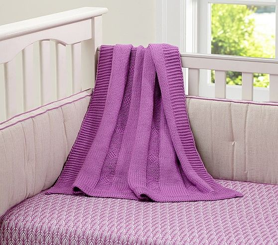 Chunky Cable Knit Stroller Blanket | Pottery Barn Kids