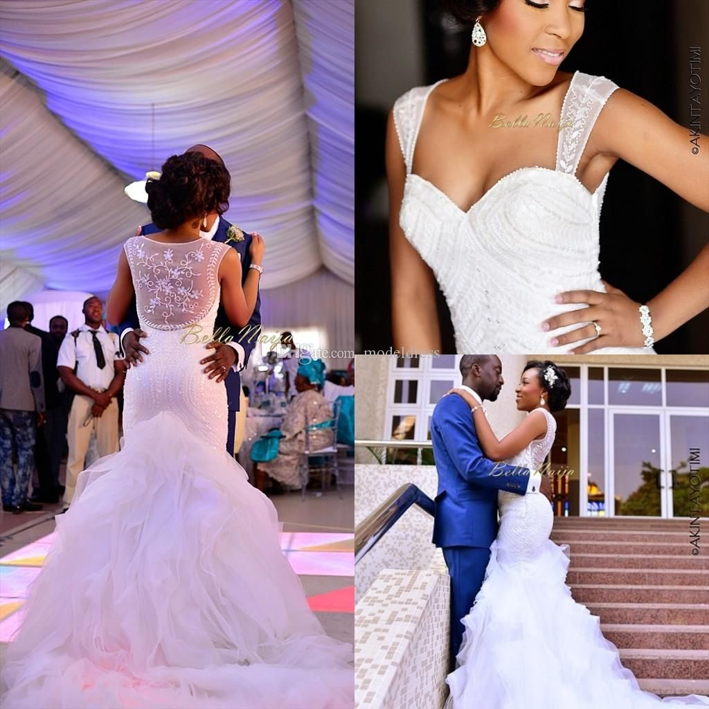 2018 New Nigerian Wedding Dresses Sheer Straps Sequins Mermaid Court