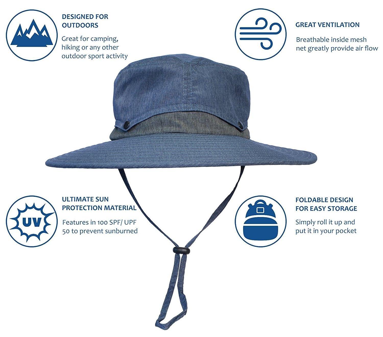 b0e6054af Hats & Caps, Men's Hats & Caps, Sun Hats, Outdoor Sun Protection Hat Wide  Brim Fishing Safari Cap w/Collapsible Crown - Navy - CN1853CWZU6 #caps #men  #hats ...