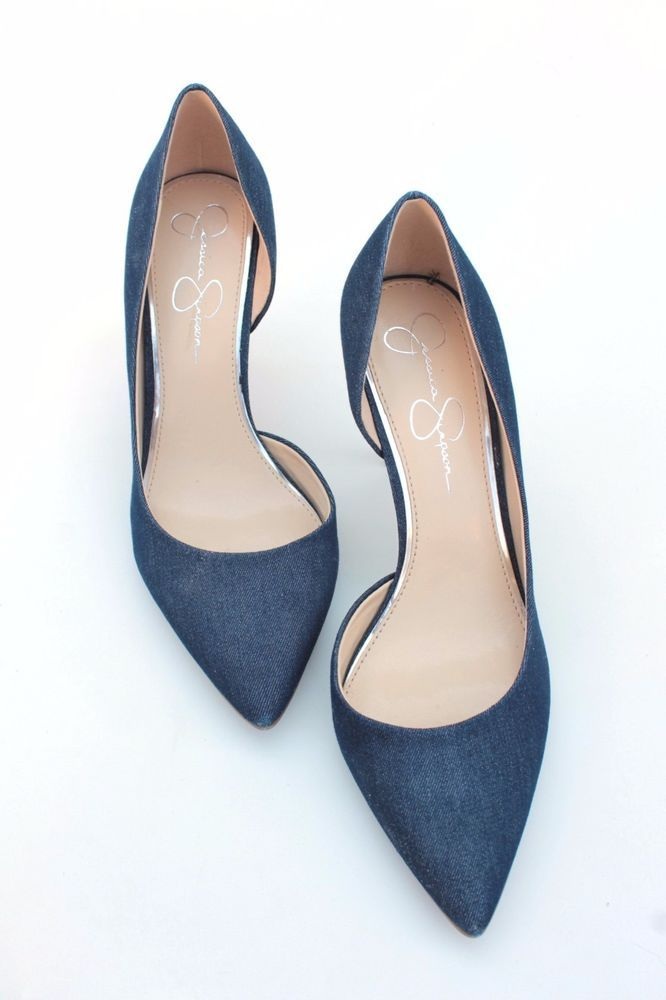 660cae28344 Jessica Simpson Livvy Denim Blue Heels Size 10 NEW Cutaway Sides Pointed  Toe…