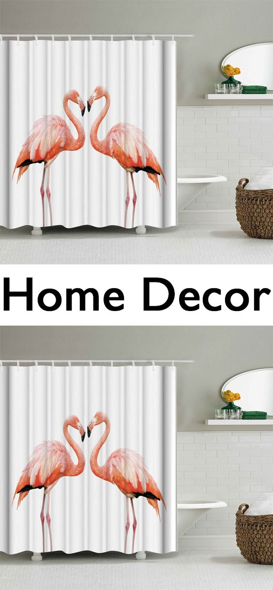 Waterproof Shower Curtain With Flamingo Print Home Decor Catalogs Discount Home Decor Affordable Home Decor