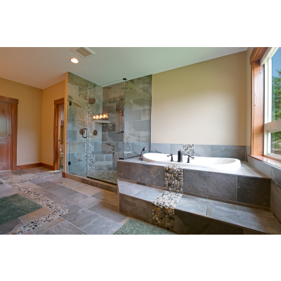 Tile Shower Walls And Floor With River Rock Running